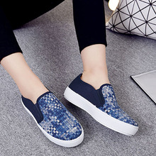 2016 Spring Fall font b Women b font Shoes Flat Shoes Woven Style Blue Khaki Loafers