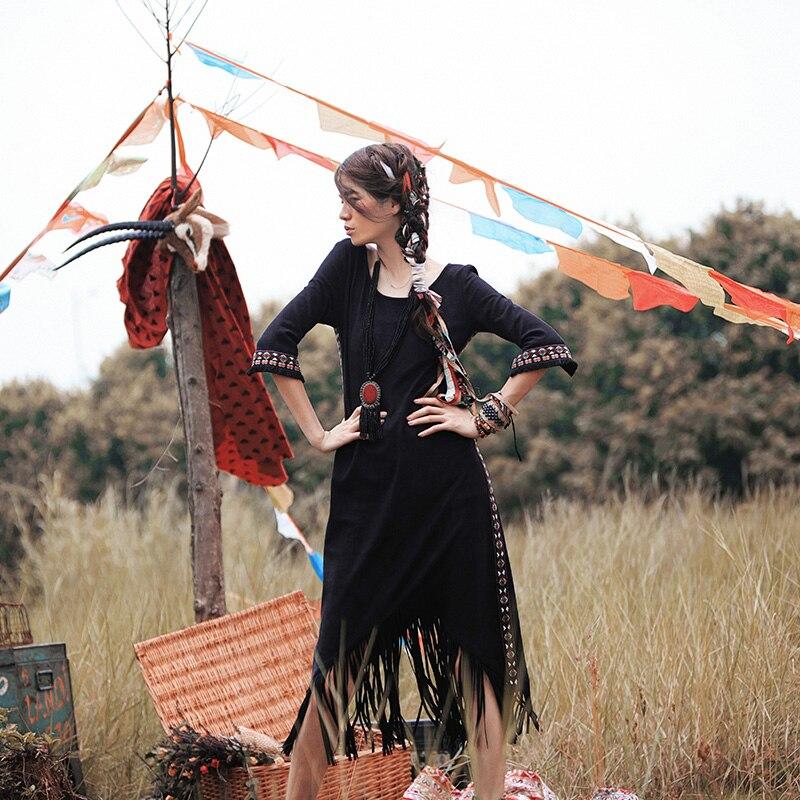 Printemps été femmes noir longue robe dames Vintage broderie Sexy frange indien troupeau daim robe longue décontractée vestido longo