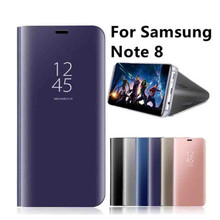 Sinbeda For Samsung Galaxy Note 8 Luxury Mirror Shell S View Smart Flip Vertical Stand Phone Case Full Protective Cover