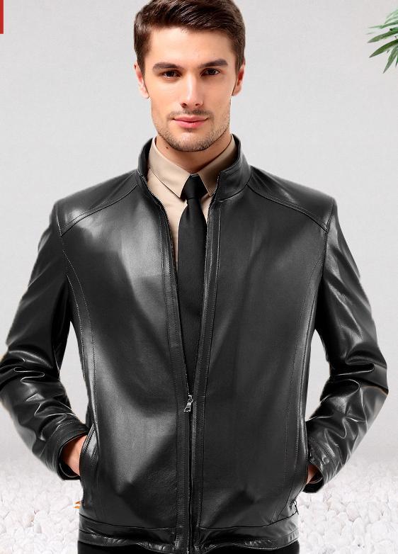 Men Sheepskin Leather Jacket Short Real Leather Jacket Mens ...