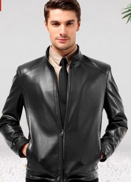 Men Sheepskin Leather Jacket Short Real Leather Jacket Mens ...