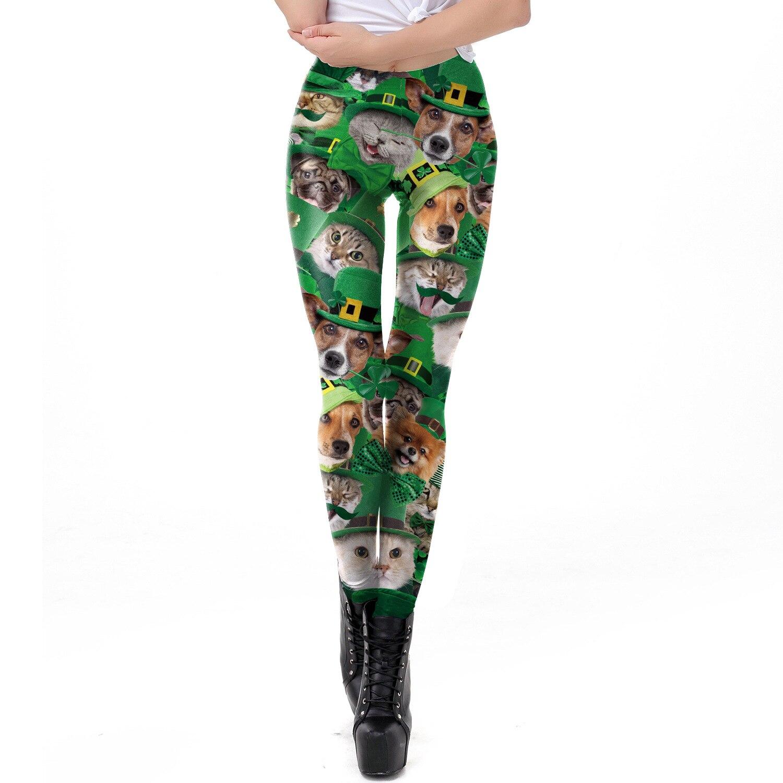 St Patrick's Day Green Hat Cat Dog Printed Leggings Women Slim Fitness Leggings Sexy Elastic High Waist Leggings Leggins Mujer