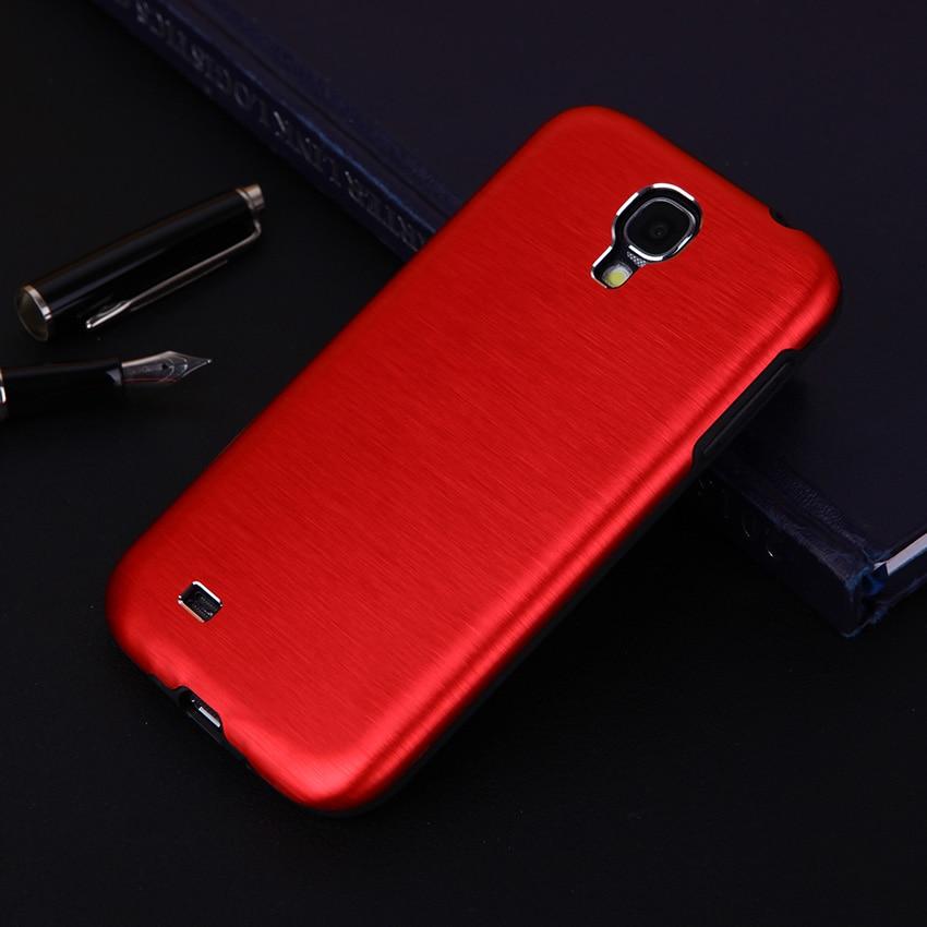 For Samsung Galaxy S4 I9500 I9505 Luxury Metal Brush Brushed Aluminum Phone Case Hard Back Cover TPU Shockproof Shell Bag Sleeve