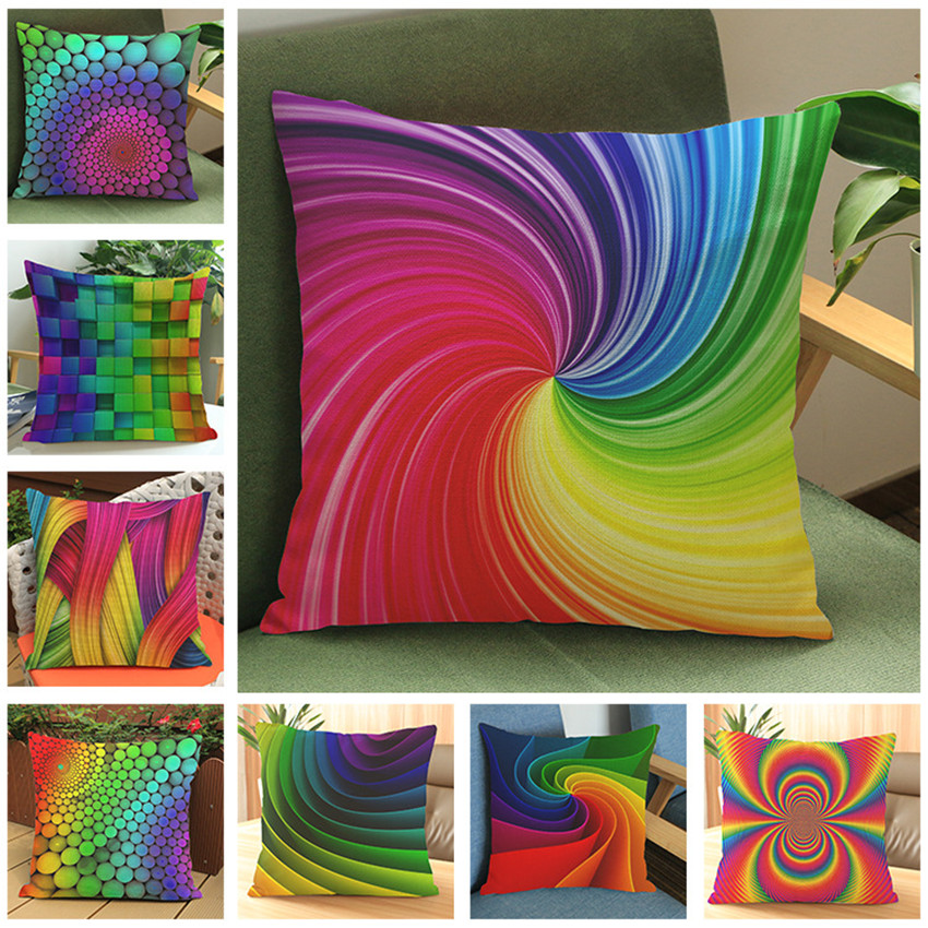 colorful abstract rainbow cushion cover home sofa bedroom. Black Bedroom Furniture Sets. Home Design Ideas