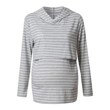 Women Pregnancy Clothes Maternity Clothing Great For Breastfeeding Nursing Hood Long Sleeves Striped Tops Hoodie Sweatshirt @30