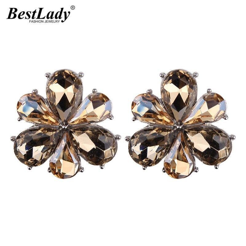Best lady Hot Sale Bjioux Pure Stone Geometric Statement Fashion Stud Earring For women Wholesale Boho New Trendy Flower Jewelry
