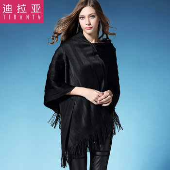 autumn boutique women's elegant medium-long female trench outerwear batwing sleeve cloak cape pleated trench free shipping