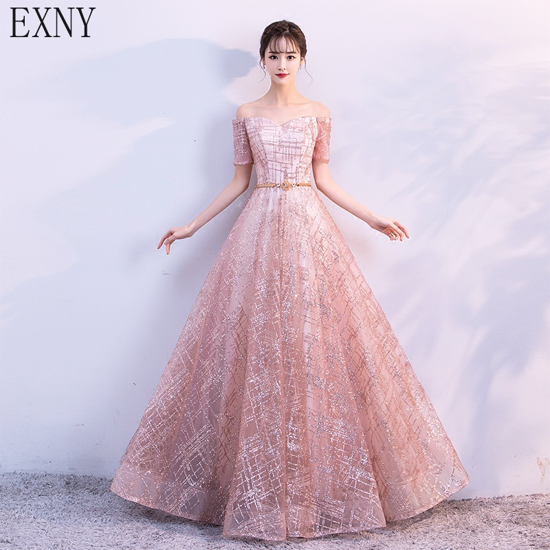 EXNY 2019 Shiny Elegant Pink Long Prom Dresses Short Sleeve Off the shoulder Formal Evening Party Gowns Vestidos
