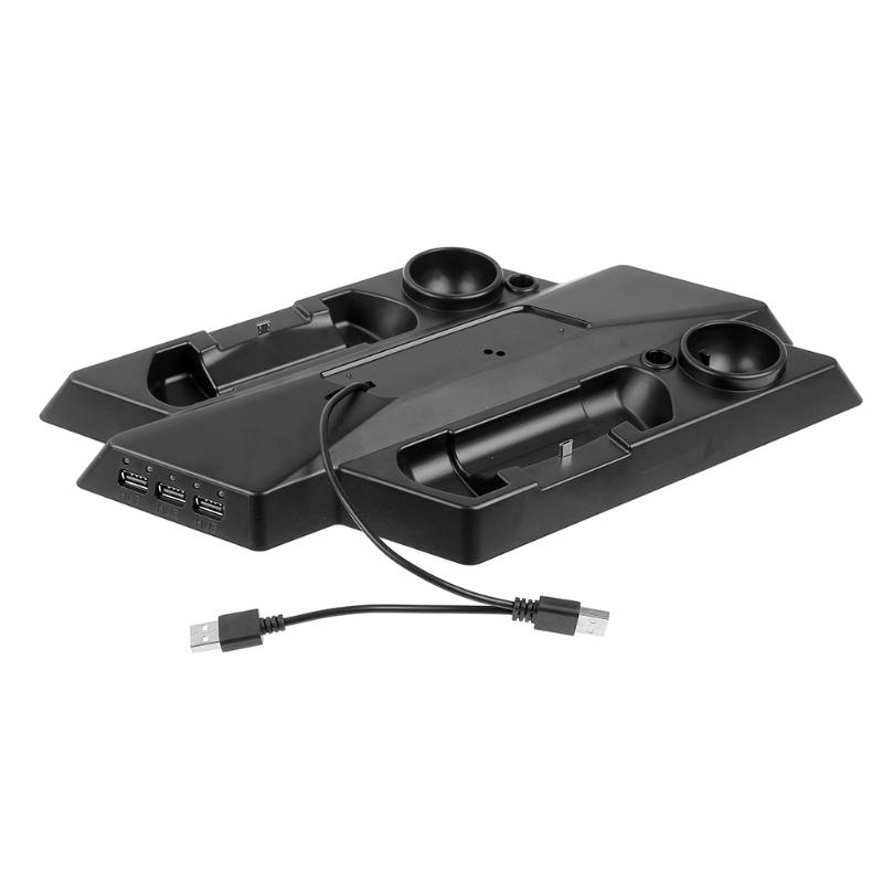 Dual Game Controller Charger Dock + Game Console Stand + Earphone Bracket Holder with 3 USB Hub for Sony PS4 Pro/Slim