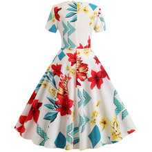 Summer Women Elegant A-line Dress 2019 Vintage Printing Party Vestidos Short Sleeve Long Slim