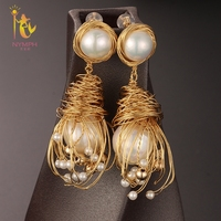 [NYMPH] Fine Jewelry Long Tassel Pearl Earrings Natural Big Baroque Pearl Drop Earrings For Women Party E346