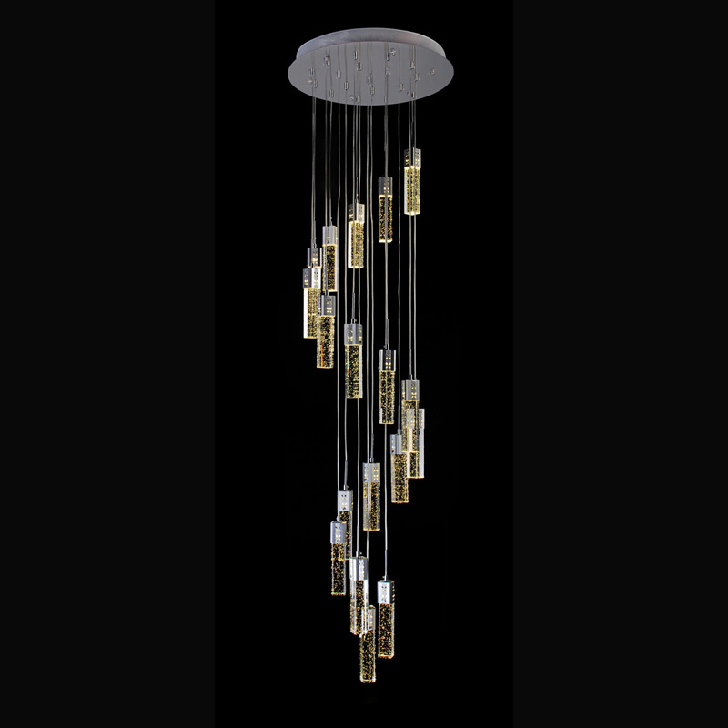 Penthouse floor villa pendant light hanging staircase lamp bubble column hotel crystal engineering hotel hall crystal lamps 1unit column a4 double sided gallery hanging systems wire hanging picture hanging systems for agent hotel retail store
