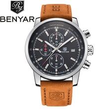 Benyar relojes hombre mejor marca de lujo de los hombres de cuero impermeable deporte cronógrafo de cuarzo militar reloj de pulsera hombre relojes montre