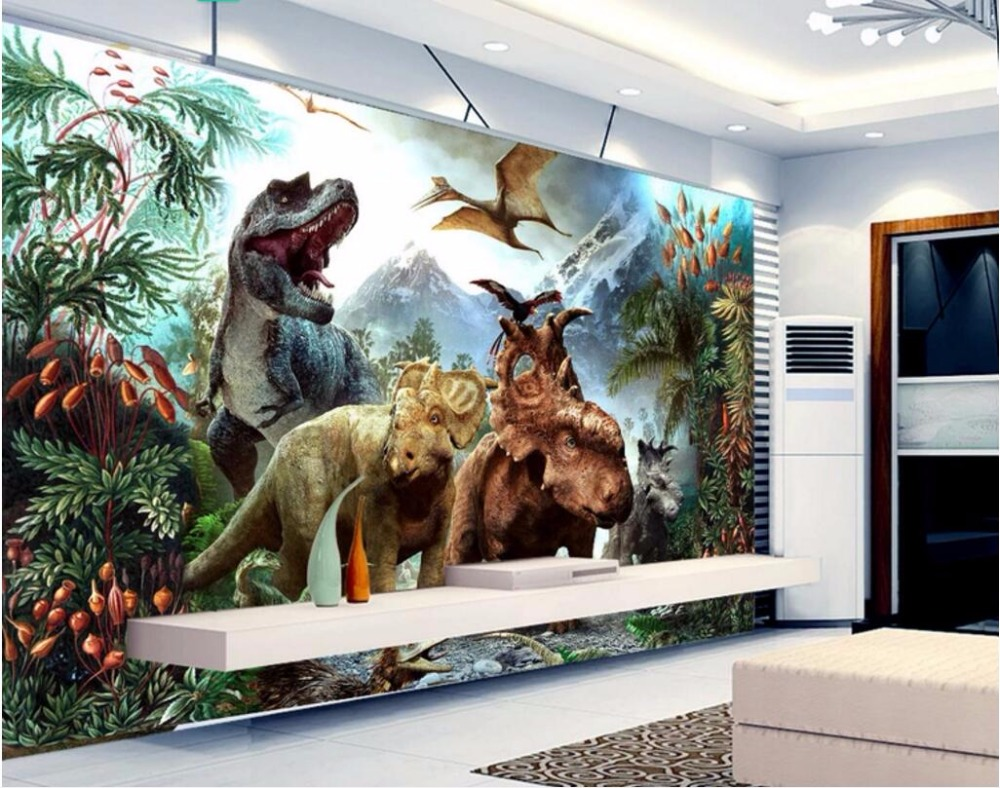 WDBH custom mural 3d photo wallpaper large dinosaur landscape on the wall home decor 3d wall murals wallpaper for living room custom baby wallpaper snow white and the seven dwarfs bedroom for the children s room mural backdrop stereoscopic 3d