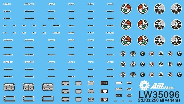 1:35 Scale Vehicle Dials & Placards Sd.Kfz. 250 All Variants