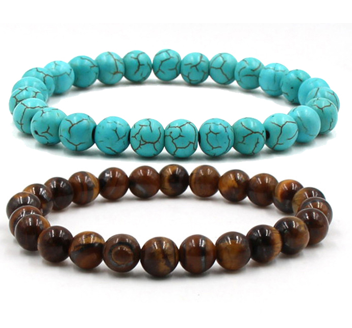 2pcs/set Couples Distance Bracelet Classic Natural Stone Greenstone Tiger Eye Stone Beaded Bracelets For Men Women Best Friend Delicacies Loved By All Bracelets & Bangles Jewelry & Accessories