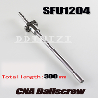 1pcs Lot 1204 Ball Screw SFU1204 300mm Rolled Ballscrew With Single Ballnut For CNC Parts