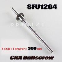 1 teile/los 1204 Kugelgewinde SFU1204 300mm Rolled Kugelumlaufspindel mit einzel Ballnut für CNC teile