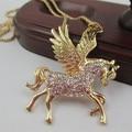 full rhinestone jewelry horse cavalos aliexpress korean kpop colares chain bijuterias necklace & pendants for women 2014