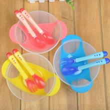 Newborn Baby Suction Cup Bowl Slip-resistant Tableware Temperature Sensing Spoon Set Kids Children Training