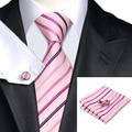 C-228 Rosa Raya Corbatas De Seda Lazos de Los Hombres 2016 Nuevo Estilo Jacquard Conjunto Jason & Vogue Knit Corbatas Hanky Gemelos Para Los Hombres
