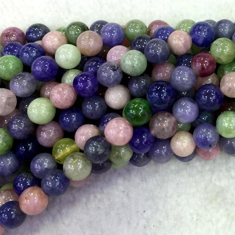 Natural Genuine Multicolour Green Pink Tourmaline Blue Tanzanite Round Loose Beads 4 6 8mm 15