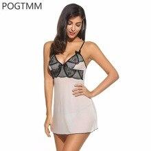 POGTMM Summer Sexy Lingerie Hot Erotica Underwear Women Backless Lace Mesh Night Gown Sleepwear Nightwear Sex Costumes White L3