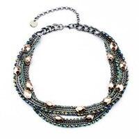 Бесплатная Доставка Супер Luxry Винтаж Партия Женщины Старинное Серебро Цвет Мульти Цепи Геометрическая Платье Ожерелье
