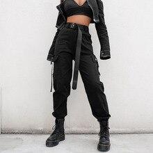 Đen Cao Eo Quần vận chuyển Hàng Hóa Phụ Nữ Túi Chắp Vá Lỏng Thời Trang Dạo Phố Quần Bút Chì 2019 Thời Trang Hip Hop Phụ Nữ của Quần