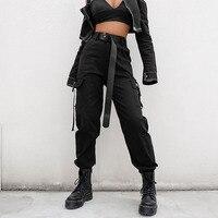 Black High Waist Cargo Pants Women Pockets Patchwork Loose Streetwear Pencil Pants 2019 Fashion Hip Hop Women's Trousers