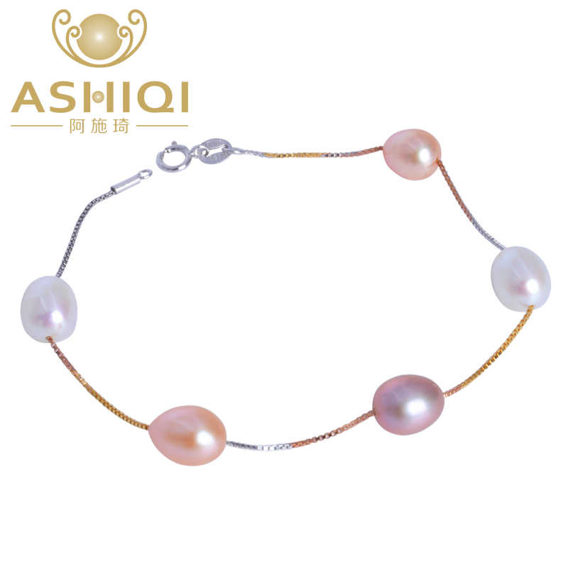ASHIQI Genuine 925 Sterling Silver chain link bracelet , Natural freshwater pearl charm bracelet for women gift