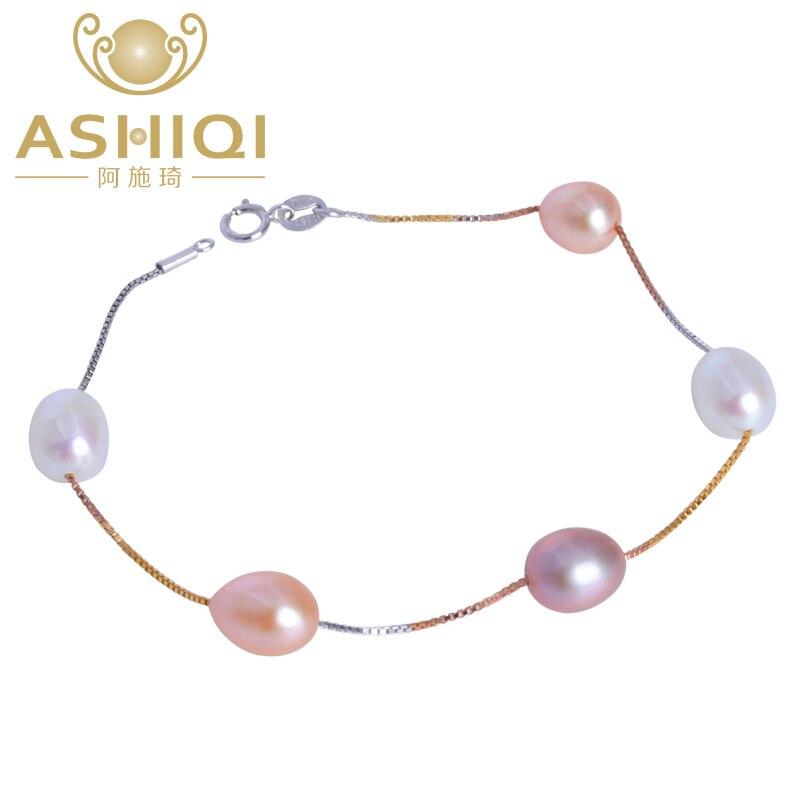 100% QualitäT Ashiqi Echtem 925 Sterling Silber Kette Link Armband, Natürliche Süßwasser Perle Charme Armband Für Frauen Geschenk