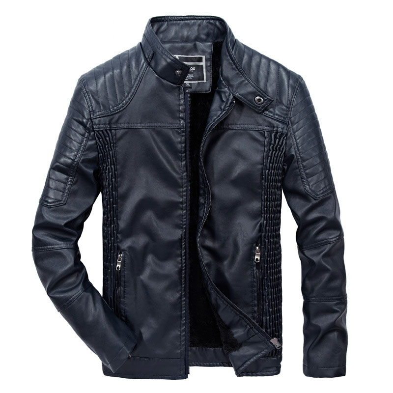 New Mens Fur Leather Jacket Brand Winter Fashion Stand Collar Fleece Leather Bike Jacket Men Casual Thicken Coat 3XL BF1809