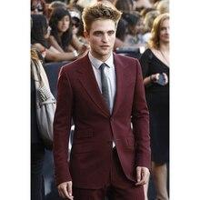 Custom Made Burgundy Men Suits Slim Fit Skinny 2 Piece Groom Tuxedos Prom Suits Gentle Party Blazer (Jacket+Pants)