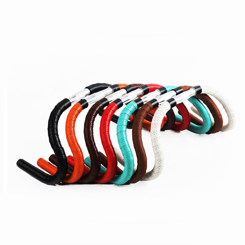 New Arrival 2 Rolls Of New Retro Bicycle Road Bike Sports Cork Handlebar Tape+ 2 Bar Plug  There Are Holes Free Shipping