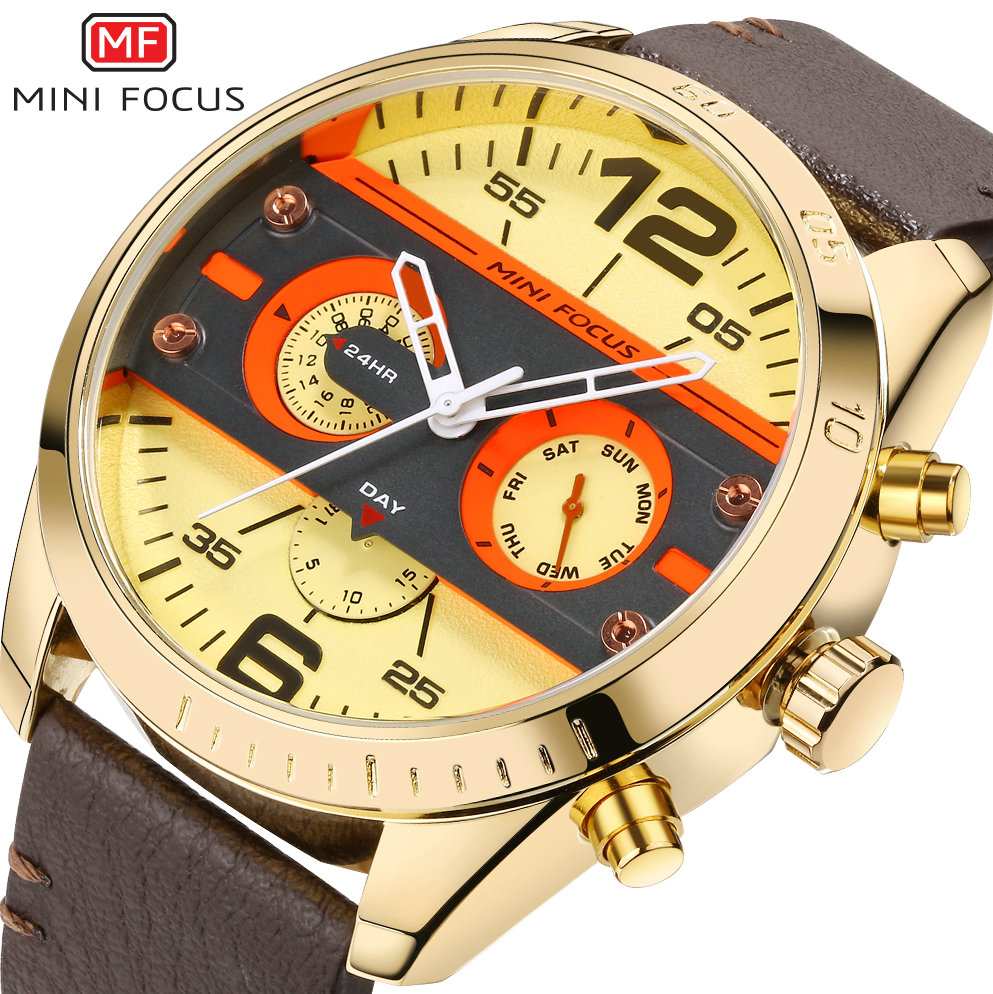 купить MINI FOCUS Top Brand Luxury Quartz Watch Men Brown Leather Strap Day Week 12/24H Display Golden Big Dial Military Wrist Watches по цене 2589.27 рублей