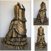 Historicalcustomer сделано коричневый 1800 S викторианской платье 1860 S гражданская война платье Винтаж костюмы Southern Belle Пром платье us6 36 v 354