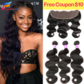 Ear To Ear Lace Frontal Closure With Bundles Brazilian Virgin Hair With Frontal Closure Bundle Brazilian Body Wave With Closure