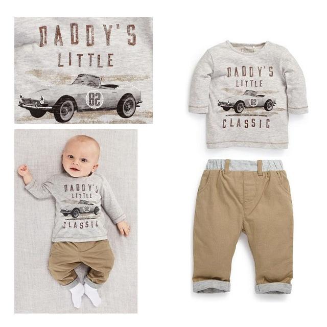 Handsome Infantil Two Piece Baby Clothing Set New Born Baby Clothes Car Printing Ropa Bebes Conjuntos Casual Recien Nacido