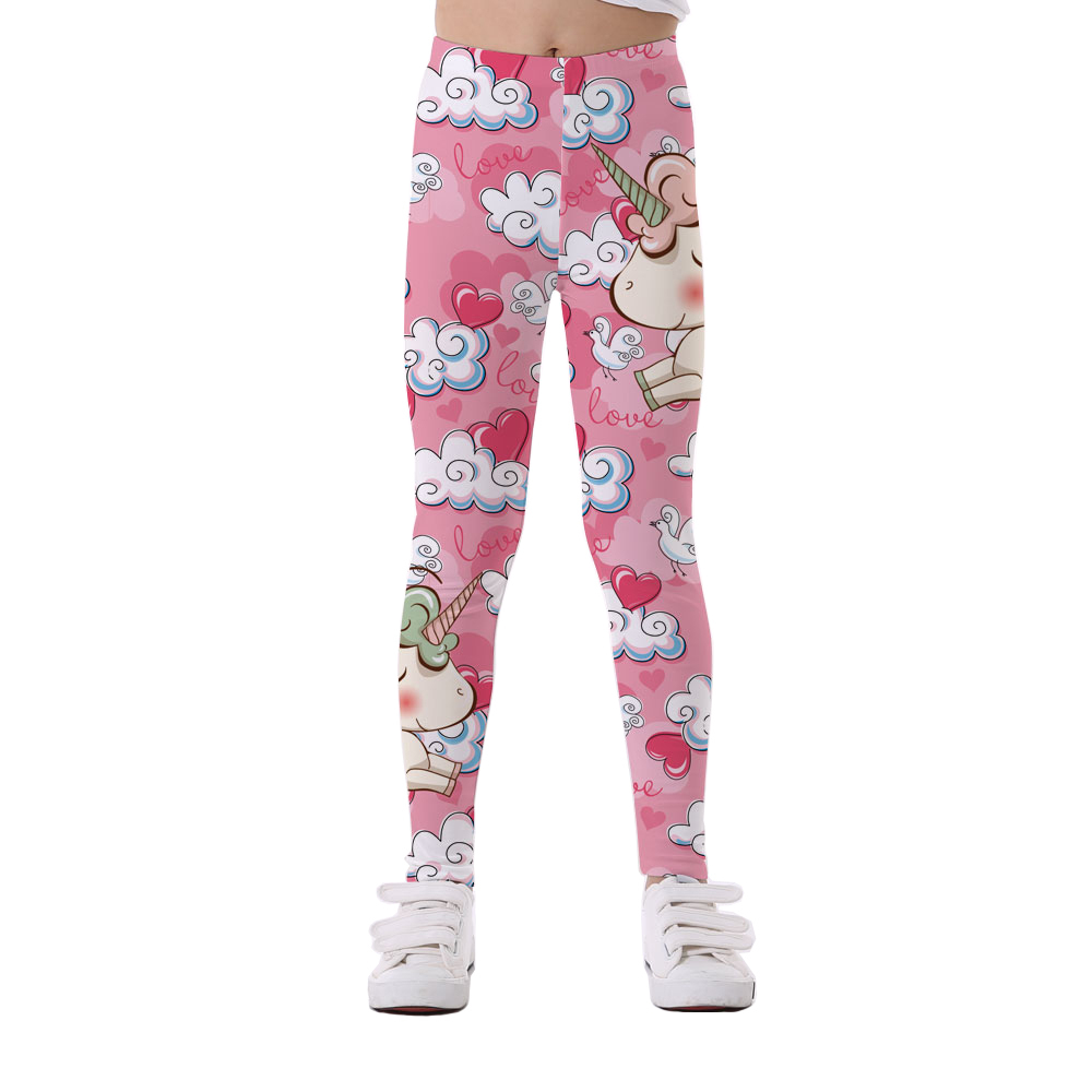 Girls, Elastic, Pants, Casual, Domi, Unicorn