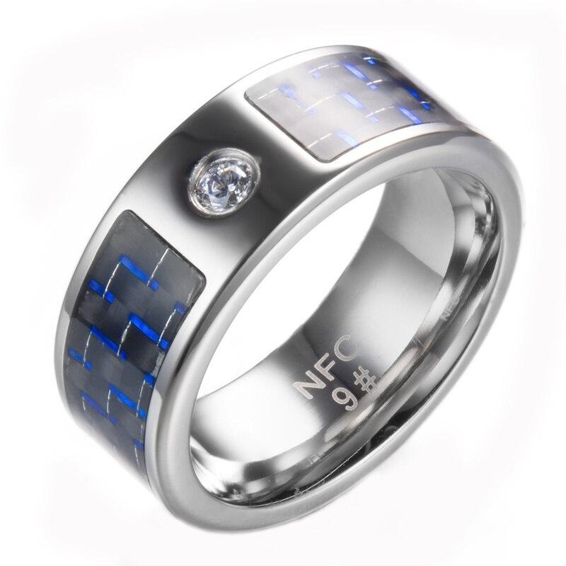 Moda mais novo nfc anel inteligente dedo azul wearable anel de aço inoxidável para homem telefone celular à prova dnágua nfc anel para android anel anel