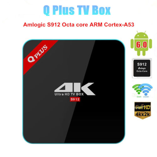 Q Plus Amlogic S912 Octa Core Android 6.0 TV BOX 3G/32G 2.4G/5GHz Dual WiFi 4K H.265 Set Top Box Media Player