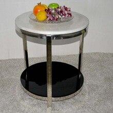 Небольшой круглый стол чай мрамора. из нержавеющей стали. диван столик.