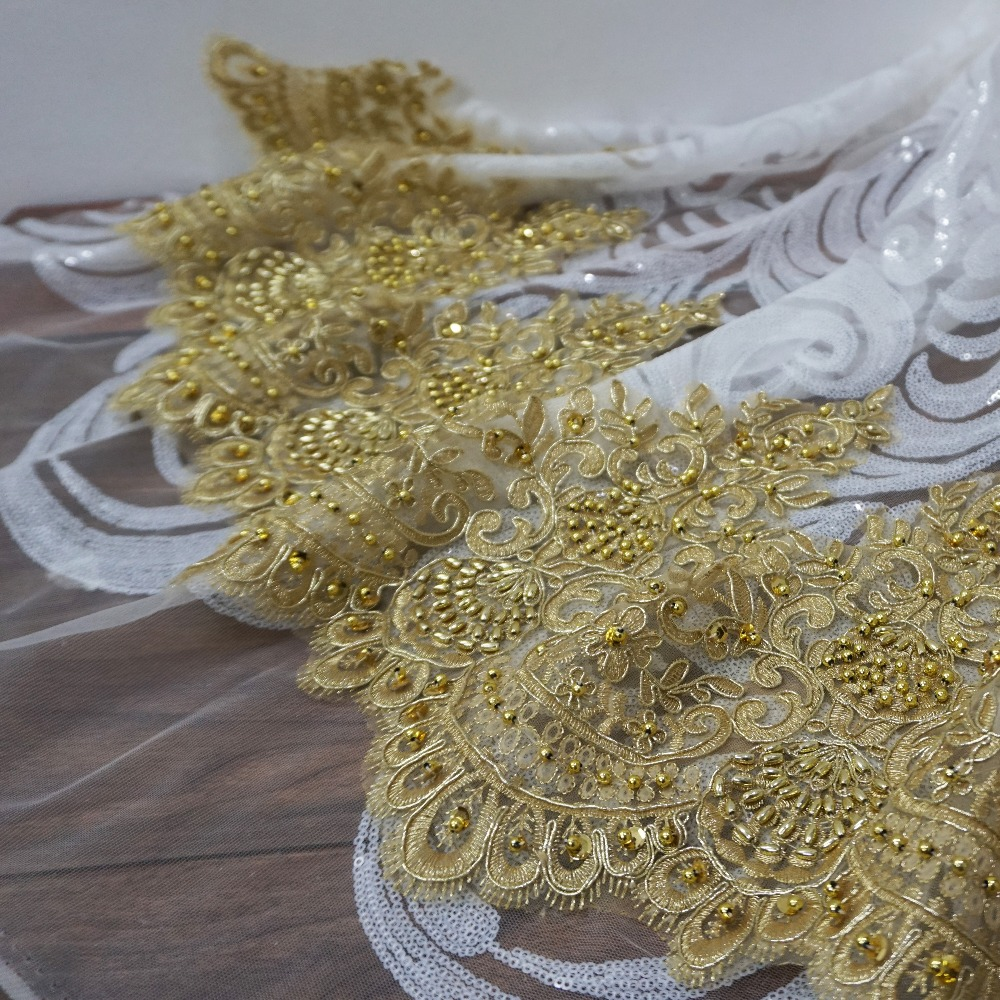 5 Yards Wholesale Real Gold Color Luxurious Beaded Lace Trim! 2019 NEW TOP Quality Women Veil Dresses Gowns Sewing Lace Trim!