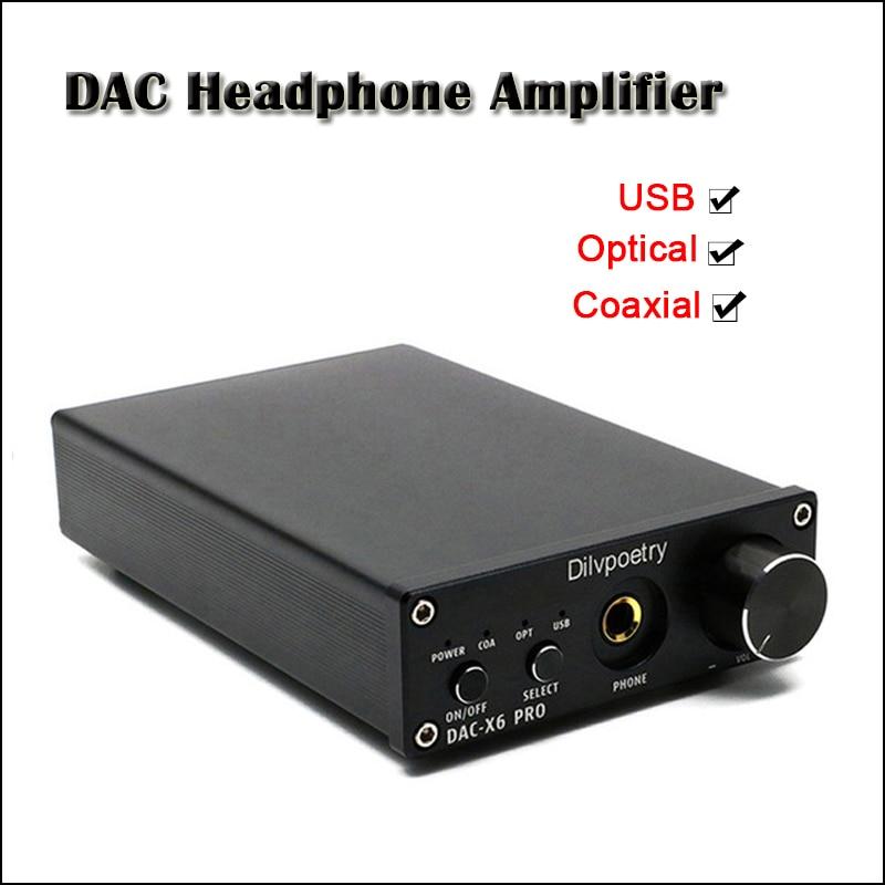 Dilvpoetry DAC-X6 PRO Desktop DAC Headphone Amplifier Audio 6.35mm Headphones Amplifier CS4398 Hifi USB DAC Headphone Amp 300ohm