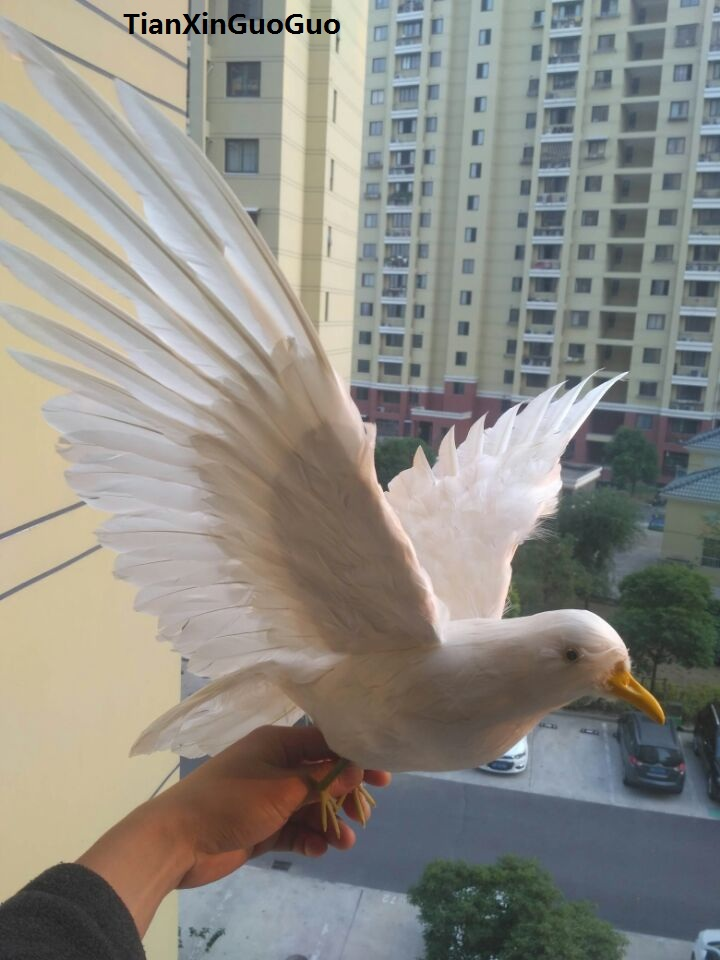 plastic foam& feathers white peace bird large 40x80cm spreading wings dove prop art model toy,home garden decoration gift w0220 25x45cm simulation dove model toy plastic foam