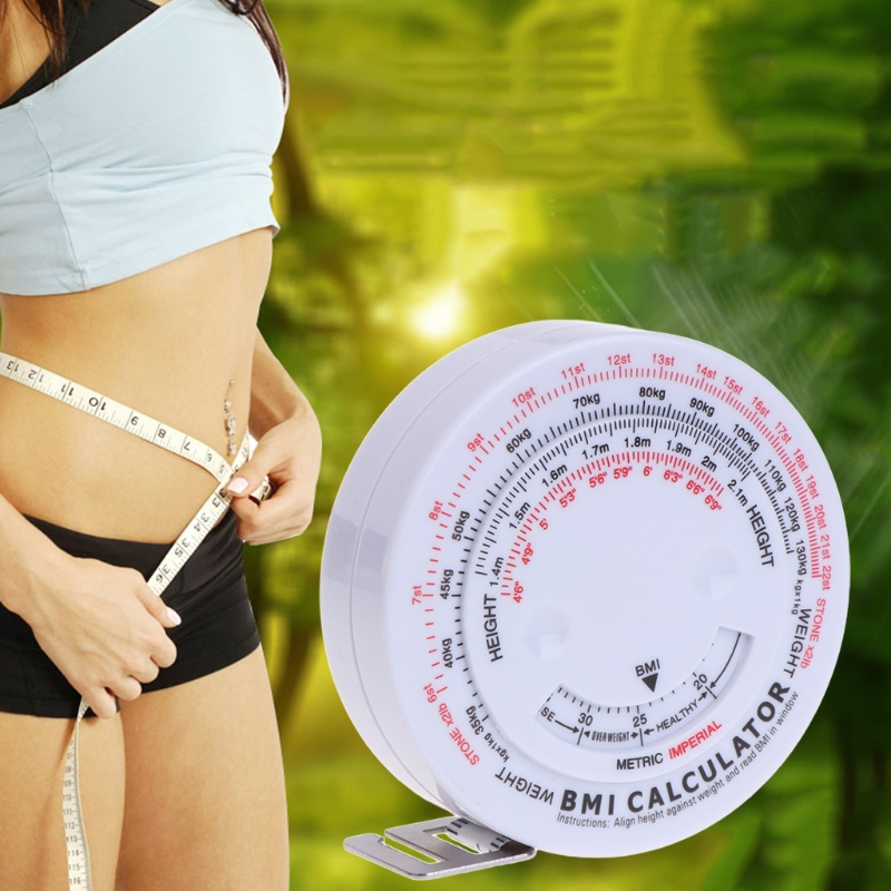 BMI Body Mass Index Retractable Tape 150cm Weight Loss Measures Diet Milestone Metric Calculator Tools image