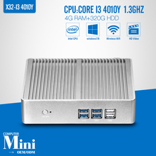 Mini pc Core I3 4010Y 4G RAM 320G HDD WIFI Industrial Mini PC Tablet Computer Desktop Computer Fanless Box PC Thin Clients