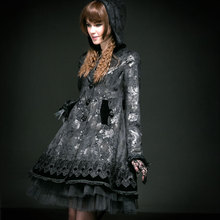 Gothic Lolita Butterfly Flocking Rose Button Long Coat with Hat Autumn Winter Ladies Sweet Trench Windbreakers Punk Beauty Coat