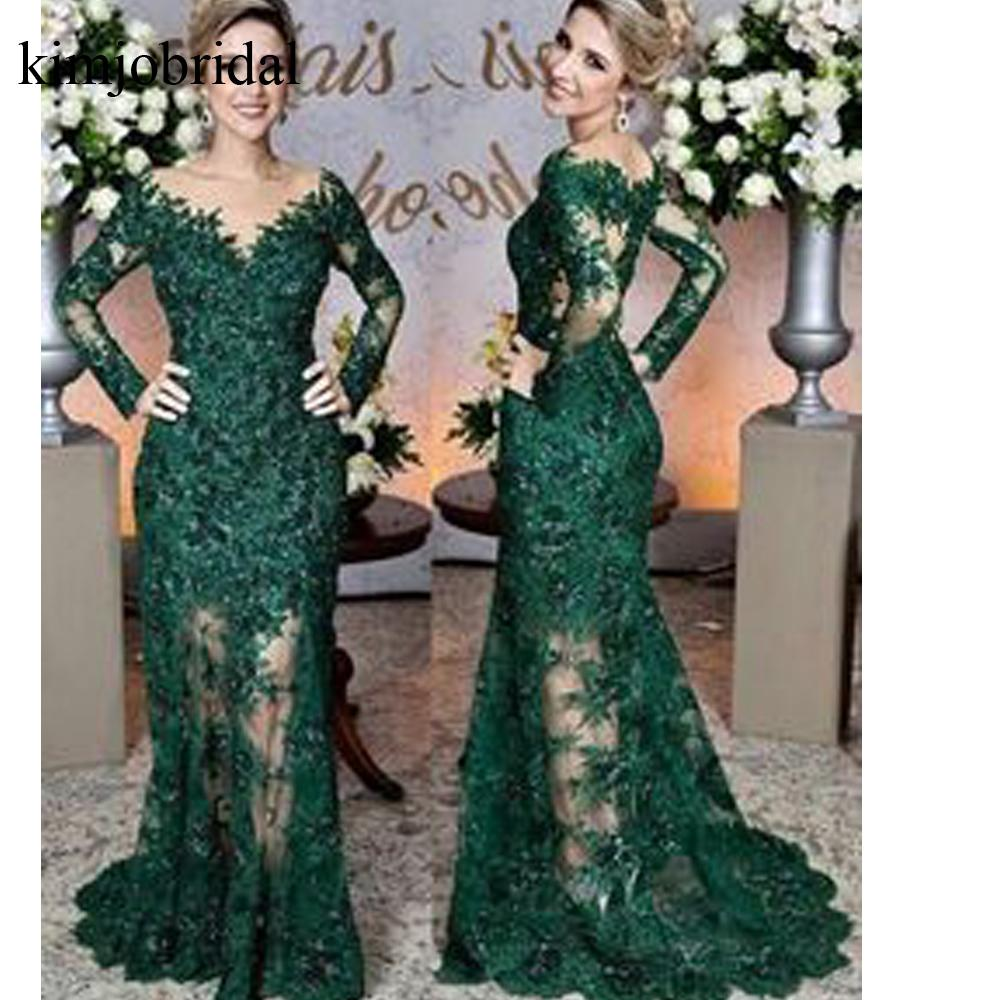 green   prom     dresses   v neck long sleeve lace evening   dresses   mermaid floor length evening   dresses   gowns vestidos de fiesta lace
